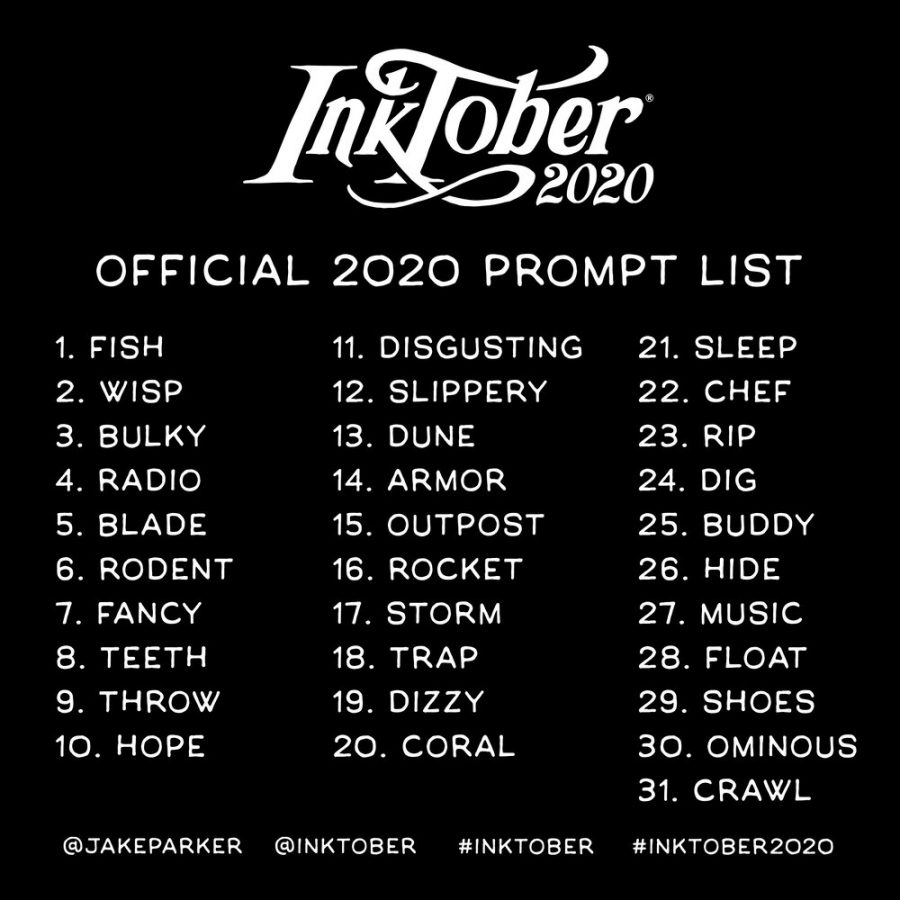 This is Inktober's Official 2020 Prompt List.