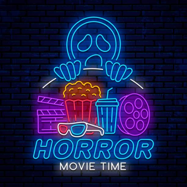 Horror movie time, night neon sign, ad, poster, billboard for cinema, isolated on brick wall background. Vector glowing logo, emblem, icon, sign for cinema.