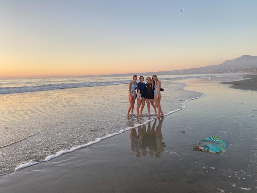 Samantha and her friends at the beach