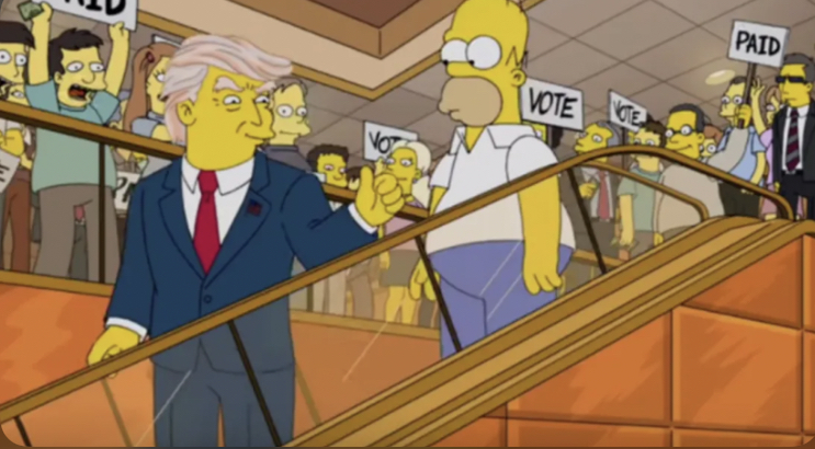 Homer and Trump on an elevator