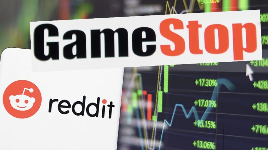 Graphic+of+Reddit%2C+GameStop%2C+and+Stock+Market+graphs.+