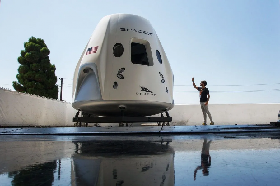 This photo is featuring the Crew Dragon Capsule by SpaceX that be used in flying the four citizens to the I.S.S.