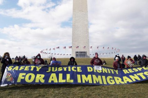 Protesters at the pentagon advocating for equal treatment of immigrants.