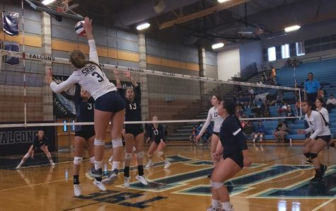 Senior, Kelsey Goddard, dominating in a game against the Foothill Falcons.
