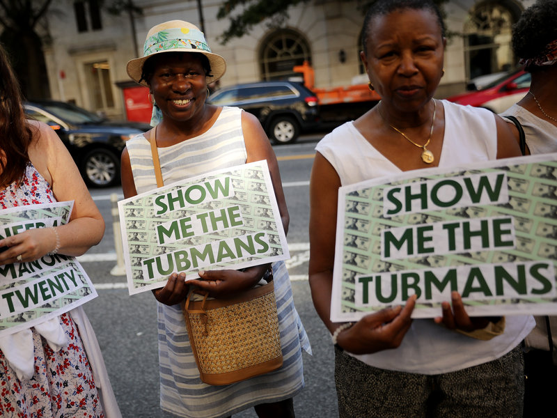 People protesting at the U.S Treasury Department for Harriet to be put on the $20 Bill.