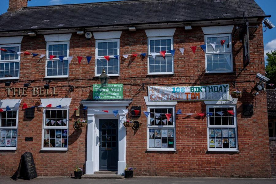 A pub was decorated with signs of support dedicated to Capt Sir Tom Moore and NHS Workers.