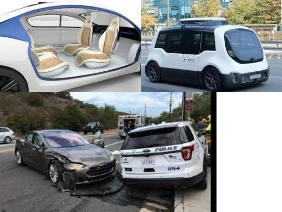 Look at the bottom picture of a self driving car smashing into a police officer's car.