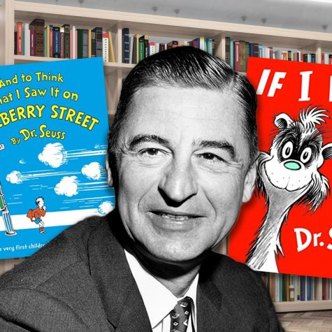 Image of Dr. Seuss and two of his books that are being discontinued.