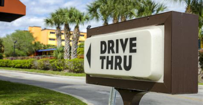 An example of a drive thru sign