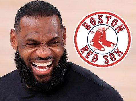Lebron James and the Boston Red Sox Logo
