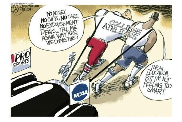 This is a funny cartoon of athletes wondering why they are at the college.