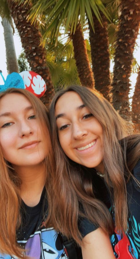 Paige Martinez (sophomore) and her sister Marley (Senior) posing for a picture in California Adventure