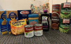 Food, located in Mrs. Carrolls office, that is available to hungry students.