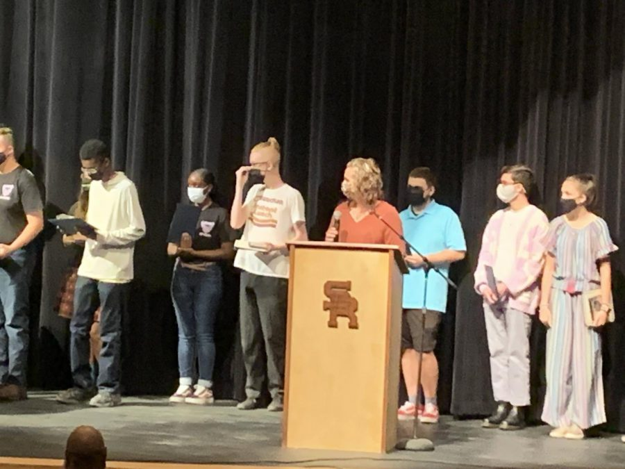Mrs. Hebb introduces students of the month.